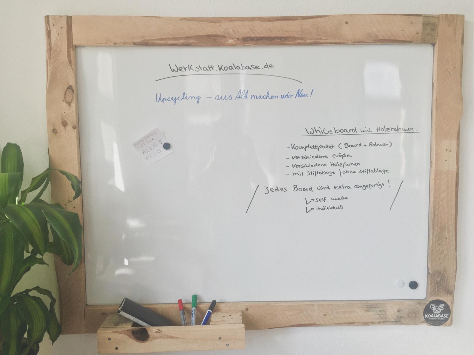 Whiteboard mit Holzrahmen – Koalabase Werkstatt
